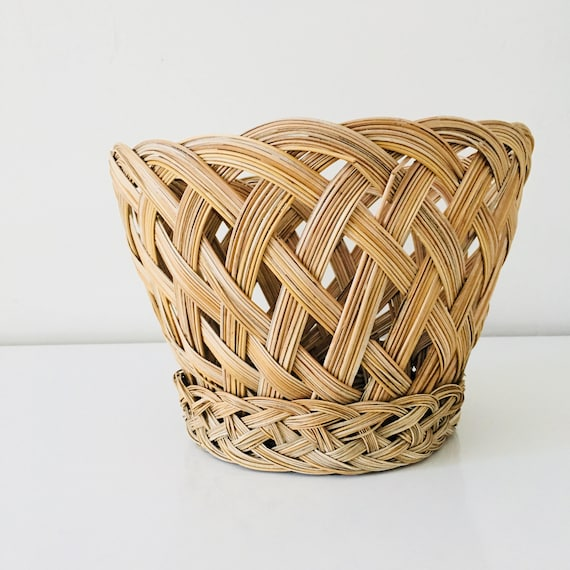 Vintage Woven Basket Medium Braided Plant Basket Plant Holder Storage Basket Boho Decor