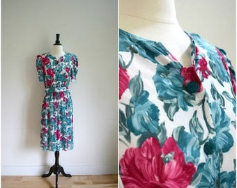 SALE Vintage sweet florals dress / teal green, pink and white floral print short sleeved retro dress / belted day dress