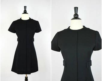 Moving Sale Vintage 60's mod black wool mini dress with side pockets