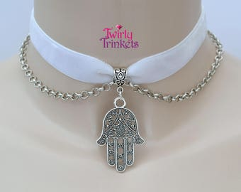 White Velvet 16mm Ribbon Choker HAMSA HAND Charm With CHAIN Necklace rk... 30 colours to choose from, size adjustable :)