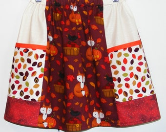 Apples and Foxes   big pocket   skirt   (2T, 3T, 4T, 5T, 6, 7, 8, 10)