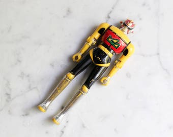 Vintage 1980s Bandai Action Figure | Yellow, Black and Red | Rare Toy in Need of Love