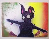 Purple Alien art on canvas - 40cm x 30cm - Original Art - Not Print