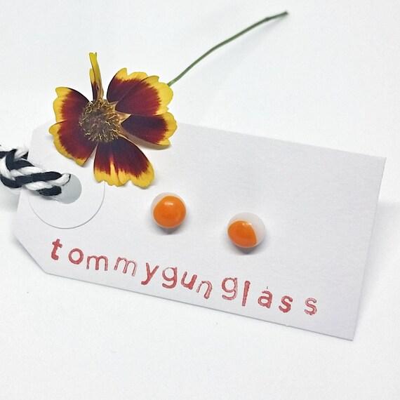 Orange and White Glass Stud Earrings