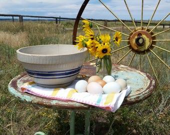 Stoneware Mixing Bowl Blue and Tan Rustic Mixing Bowl Primitive Bowl Farmhouse Kitchen