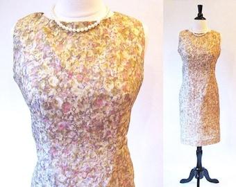 1/2 Off SALE Marilyn Monroe Dress, Vintage 50s Beige Sheath, 1950 Fashion