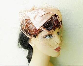 1/2 Off SALE Vintage 50s Pheasant Feather Hat with Birdcage Veil and Satin Bows