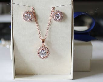 Rose gold bridesmaids set, bridesmaids gift, Bridesmaids necklace and earrings, Cubic Zirconia, Gold bridal gift, Bridesmaids jewelry