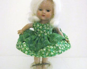 """Doll Dress for Ginny Doll Green Print Dress For Muffie & Other Vintage 8"""" Dolls"""