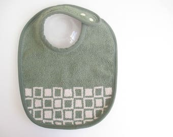EcoBib--Adjustable Snap Closure--Modern Sage and Tan Block Design--Ready to Ship