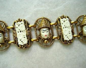 Vintage Selro Bracelet Thai Girl White Floral Lucite