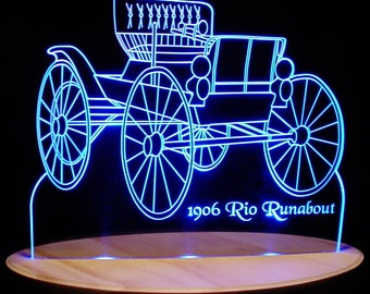 "1906 Rio Runabout Acrylic Lighted Edge Lit LED Sign 13"" Full Size Made in the USA"