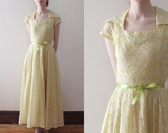vintage 1940s eyelet gown // 40s yellow floral maxi dress