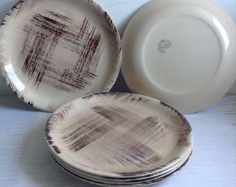 6 Vernon Ware Barkwood Dinner Plates. Vernon Kilns.  California Pottery, USA,  Mid century modern, Danish Modern, Eames era. Deco 1950's.