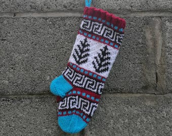 Small Santa Stocking, Knit Christmas Decor, Fair Isle knit, Grey Holiday Stocking, Knit Christmas Stocking, Santa Sock, Home Decor SBR