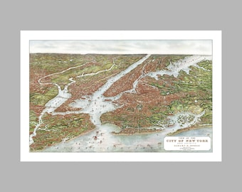 New York City - Panoramic Map - Birds Eye View - Manhattan - Print - Poster