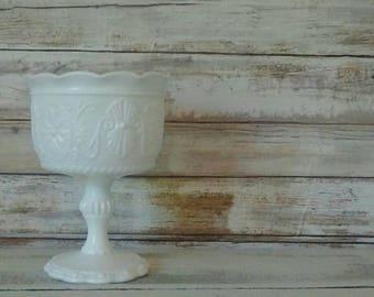 Milk Glass, Milk glass vase, Single Pedestal Dish, Candy Dish, Flower Vase, Collectible, Wedding decor, Vintage Home decor