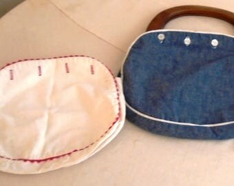 Vintage 1960s Cloth Purse Bermuda Bag Wooden Handles Interchangeable Covers