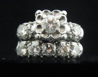 Vintage Diamond 14k White Gold Engagement Ring Wedding Band Set Mid Century LAYAWAY AVAILABLE