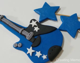 GUITAR and Stars Cake Topper Decorations Blue, Black and White or your Favorite Colors Ready for Home made Cakes made of Vanilla Fondant