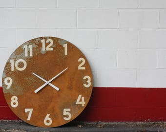 Rusty Metal Wall Clock. LARGE 36 inches Round. Industrial Chic. Modern. Urban. Hip. Minimalist decor.