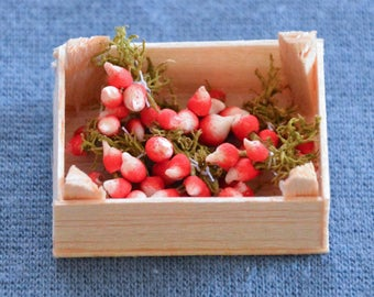 Dollhouse Miniature Food - One Inch Scale Sparkler Radishes - In Crate - Removable