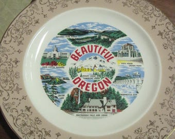 "VINTAGE OREGON State Collectible 10"" Plate,Salmon w/Fancy Floral Wide Rim,Gold Rim,Columbia River Gorge,Capital Building,Mt. Hood,Timberline"