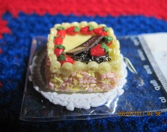 Doll House Miniature Food Yellow Square Cake LOVE YOU w/ Lemon Frosting & Strawberries