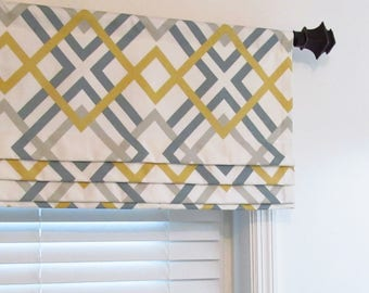 Faux Roman Shade Lined Mock Valance Geometric Print Winston Saffron Yellow Custom Sizing Available!
