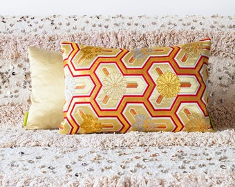 Gold Red Cushion, Metallic Gold Pillow, Geometric Throw Pillow, Shiny Statement Pillow, Floral Japanese Kiku Embroidery, Vintage Mid Century