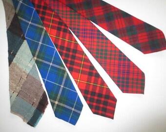 Lot of Five Wool Neckties, Blue, Green, Red, Plaid Ties //  Tartan // Acetate Lined