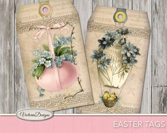 Printable Easter Tags easter party printable easter decorations easter bunny instant download digital download collage sheet - VDTAEA1070