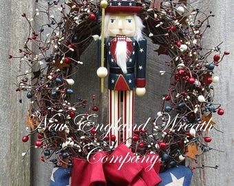 ON SALE Patriotic Wreath, 4th of July Wreath, Uncle Sam Wreath, Whimsical Patriotic Wreath, Americana Wreath, Nutcracker, Designer Patriotic