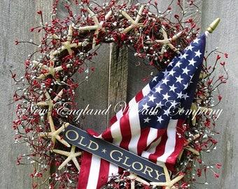ON SALE Patriotic Wreath, Americana Wreath, 4th of July Wreath, Seashell Wreath, Patriotic Beach Cottage Wreath, Flag Wreath, Coastal Wreath