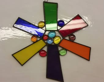 Stained Glass Star Sun Catcher Primary Colors 8.5 Inch Diameter Stained Glass Window Art