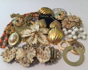 Vintage Lot of Gold Costume Jewelry/ Junk Jewelry/ Great to wear or re-purpose for altered art/18 pieces