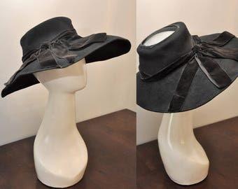 40s wide brim hat | 1940s black open crown sun hat | matching velvet bow detail