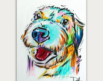 Colorful Custom Dog Paintings, Colorful Art, Acrylic On canvas, Wall Decor, Home Decor