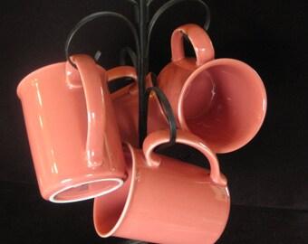 Coral Mug Set, Corning Ware, Set of Four