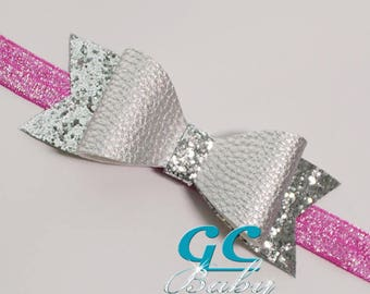 Silver Leather Bow Hair Clip Headband or Ponytail Elastic - You choose the fastener for Baby, Toddler or Little Girl