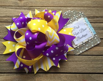 Funky purple and yellow hair bow 5 inch bow