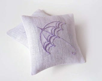 Embroidered Scented Sachets Handmade Lavender Sachets Lavender Pillow Set of Two Sachets Embroidered Linen Cushions Home Decor LAVENDER RAIN