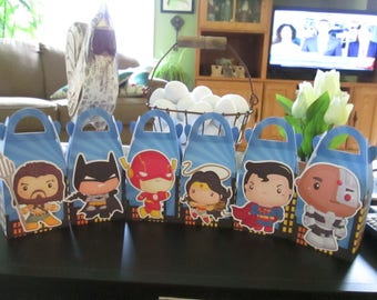 Justice League Inspired Gable Favor Boxes Set of 12