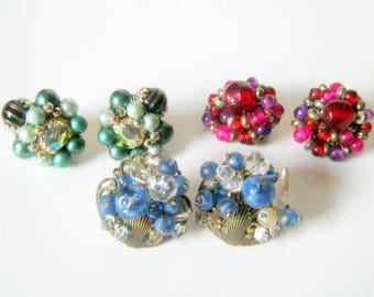Cluster Clip Earring Vintage Lot, Glass Beaded Earrings, Fashion Jewelry, Gift for her