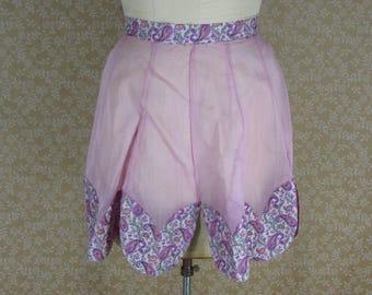 Vintage Sheer Purple Cotton Organdy Half Apron Paisley Floral Petal Hem