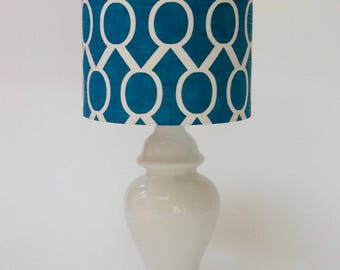 White Ginger Jar Lamp and Teal Geometric Lamp Shade