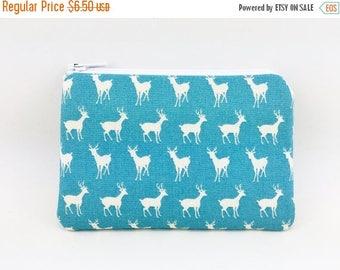 Summer SALE - Deer Zipper Pouch, Little Coin Purse, Card Wallet, Small Gadget Case, Gift idea, Padded, Pale Blue
