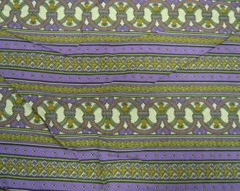 """Jinny Beyer vintage fabric  6 yds by 42""""  by Mr RJR fashion fabrics cotton purple and green stripe  border print quilt or sew mid 1990's"""