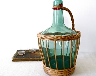 1960 French vintage demijohn, French Antique Demijohn wrapped wicker mediterranean, french bottle, picnic