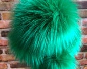 Kelly Green Faux Fur Long Pile Streaked Pom Poms Toques Beanies Hats Keychains Purse Fob Charm Vegan Fake Plush Super Soft Pile Craft Supply